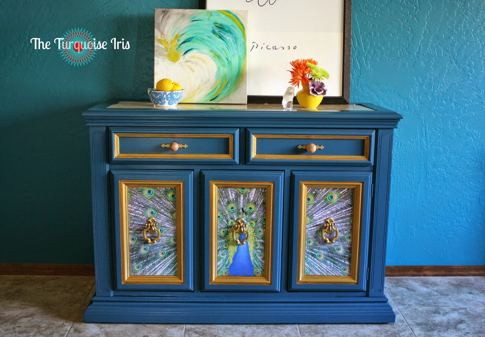 The Royal Blue Peacock Buffet | The Turquoise Iris
