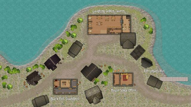 Mapa de um vilarejo ou parte de uma cidade.