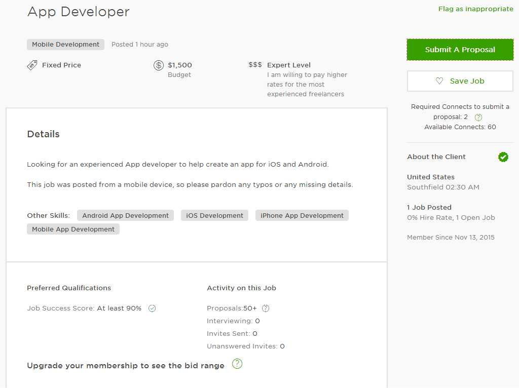 Upwork Cover Sample for Mobile App/ Android App/ iOS