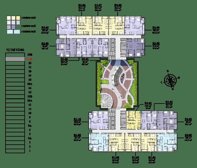 Mặt bằng tầng 25A chung cư Florence