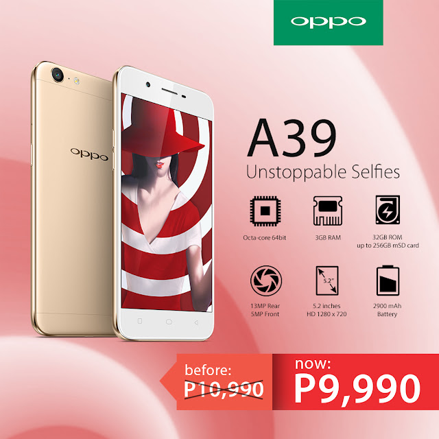 OPPO A39 Gets P1,000 Off Discount
