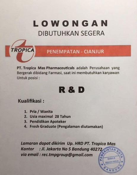 Lowongan Kerja Pt Tropica Mas Pharmaceutical Lowongan Kerja