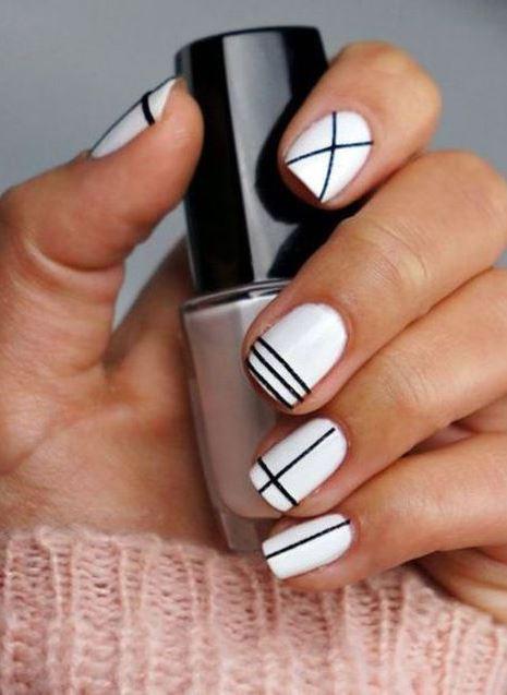 white-black geometry nail art idea