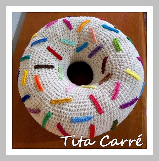 donut crochet pillow