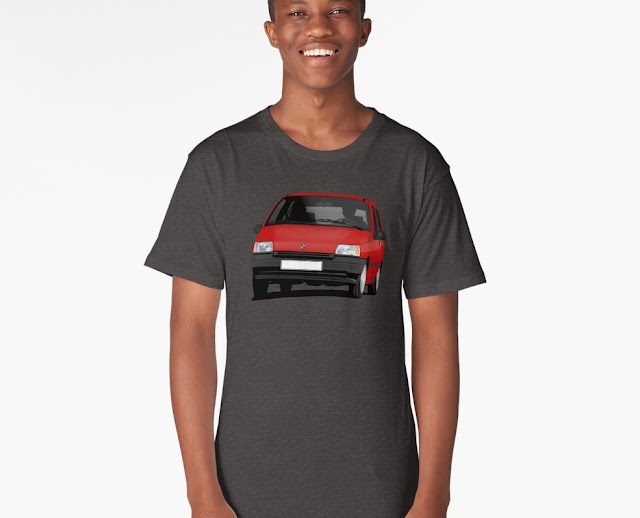 Redbubble Red Renault Clio illustration t-shirts
