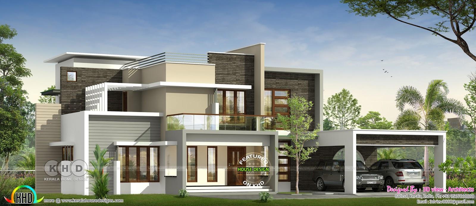 4 Bhk Luxurious Flat Roof Contemporary Home Kerala Home Design Bloglovin