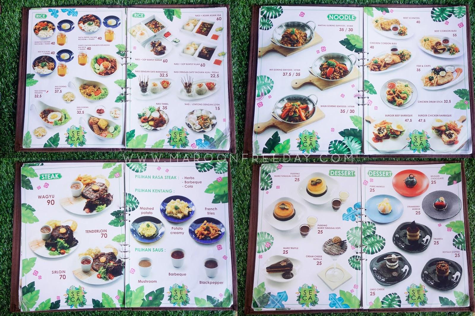 Menu Seca Semi Cafe Bandung