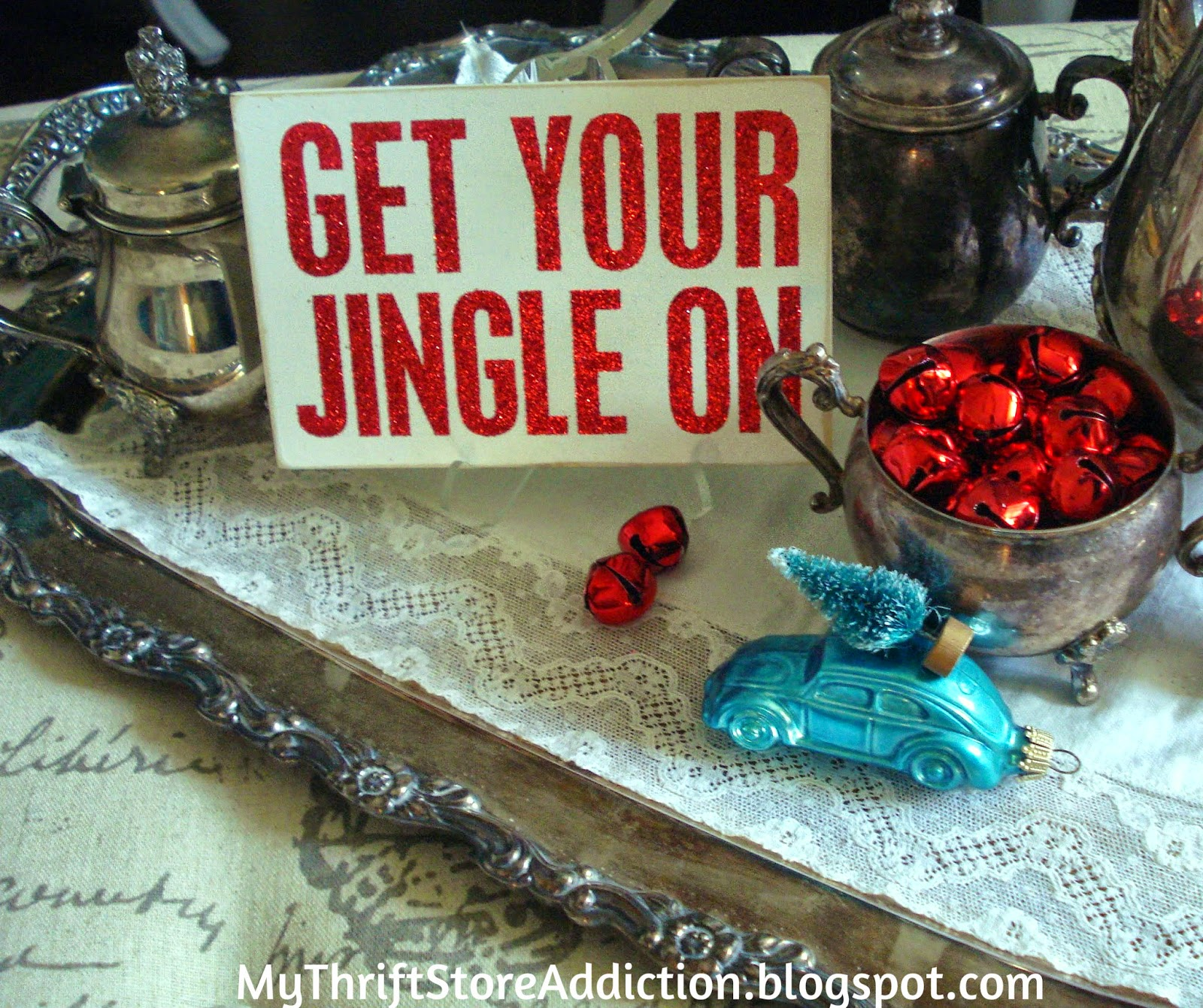 Vintage silver and Christmas whimsy