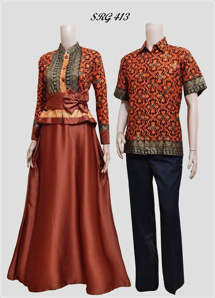 Baju Batik Couple Gamis Modern 2016 Srg 413