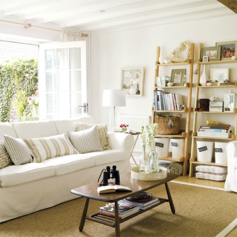 coastal cottage white slipcover sofa in living room