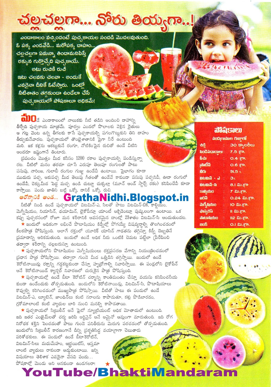 చల్ల చల్ల గా... నోరు తీయగా...! Watermelon Hot Summer Cool Cool Summer Watermelon Melon Putchhakaya Eenadu Sunday Magazine Eenadu Sunday Eenadu Sunday Magazine Cover Story Bhakthi Pustakalu Bhakti Pustakalu BhakthiPustakalu BhaktiPustakalu