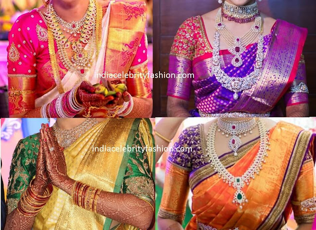 Elbow Length Sleeve Blouse Designs for Kanjivaram Sarees