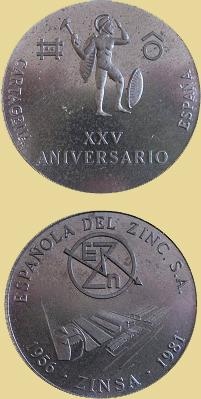 Medalla del 25 Aniversario de Española de Zinc, 1981