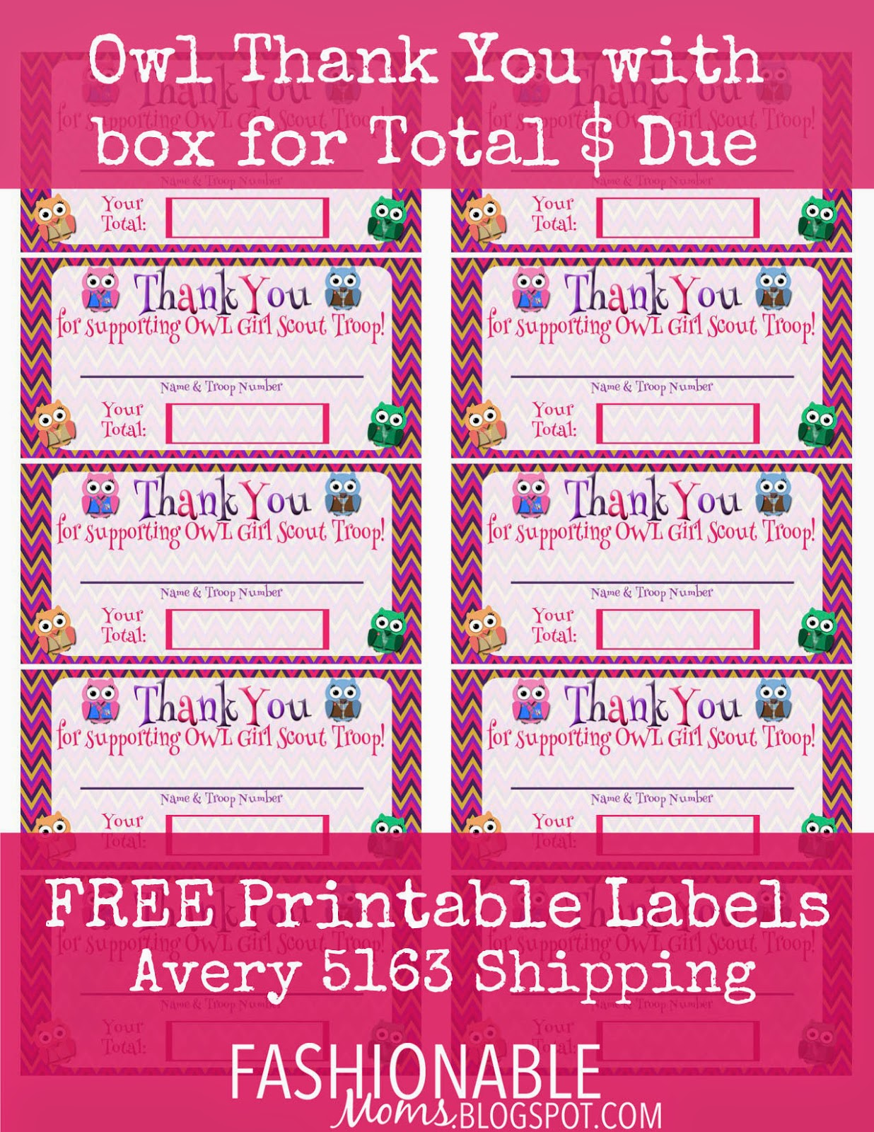 Fashionable Moms Free Printable Owl Thank You Labels