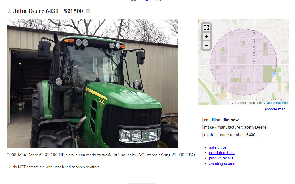 Meat Craigslist Tractor Scam Also Other Vehicles