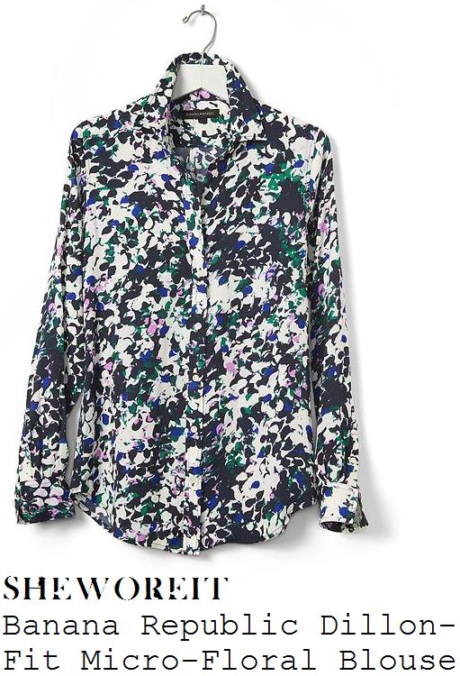 amanda-holden-banana-republic-beige-black-violet-green-and-blue-floral-print-long-sleeve-blouse