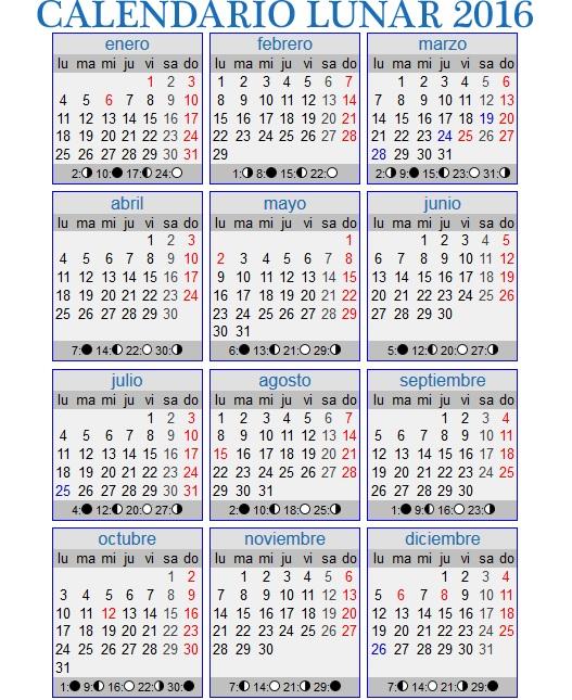 Abriendo Nuestro Interior Calendario Lunar Espa A 2016