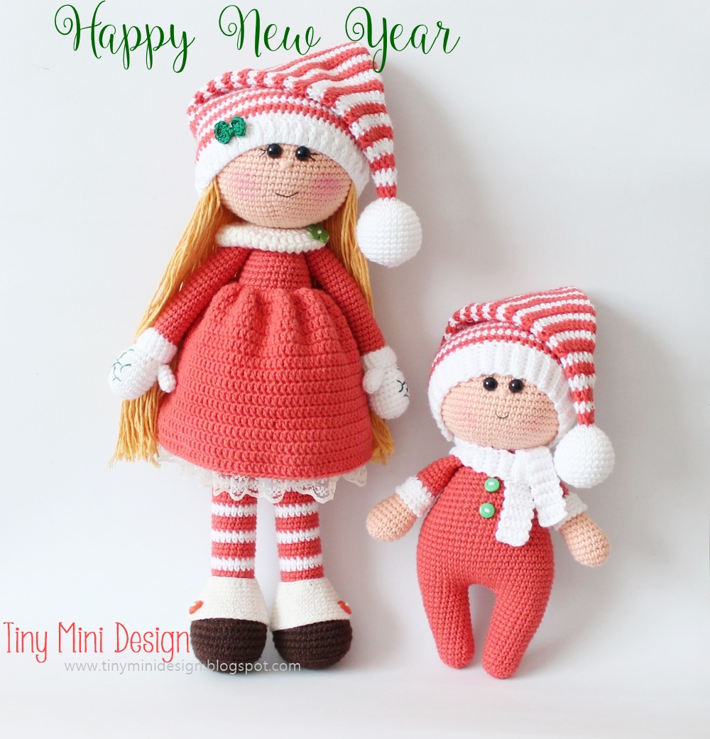 Free Knit Amigurumi Patterns : Amigurumi Yeni Yil Bebekleri- Happy New Year Dolls - Tiny Mini Design