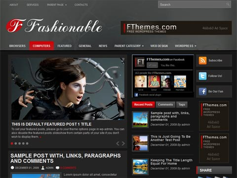 Fashionable Free WordPress Theme