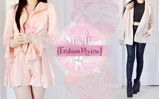 Up today: another SheIn fashion review, featuring a pink satin tie-waist romper and light lavender faux suede coat. Light colors aren't typically my go-to, but these pieces stood out to me while I was browsing SheIn's site, so I decided to give them a go! Full details ahead! - Eat My Knee Socks / Mimchikimchi