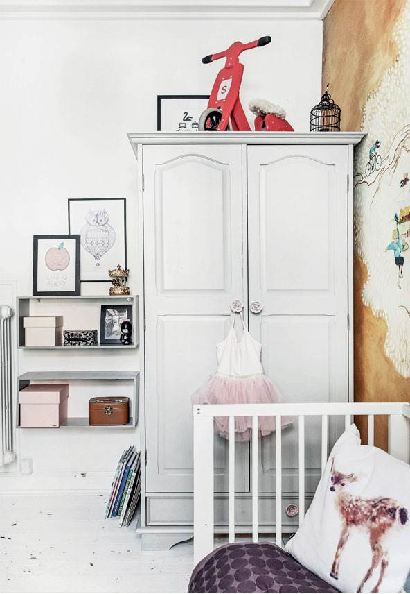 eclectic nursery in white