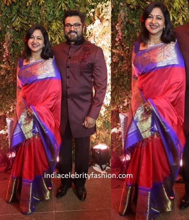 Radhika and SarathKumar at Sreeja Wedding Reception
