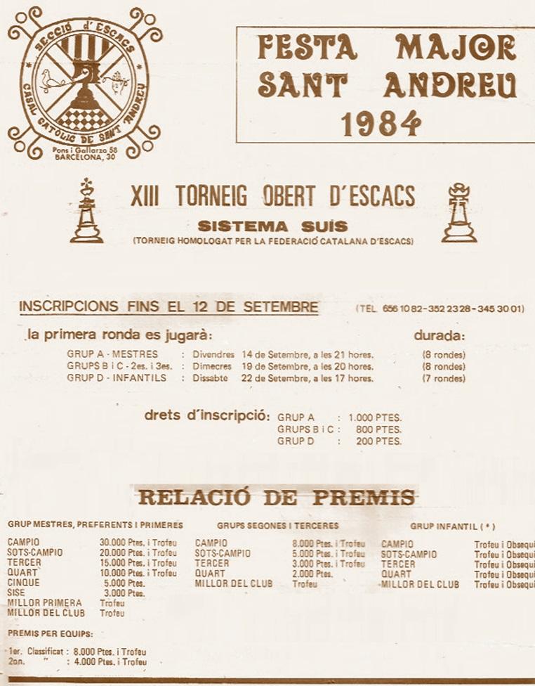 Cartel de promoción del XIII Torneig Obert Festa Major de Sant Andreu de Palomar 1984