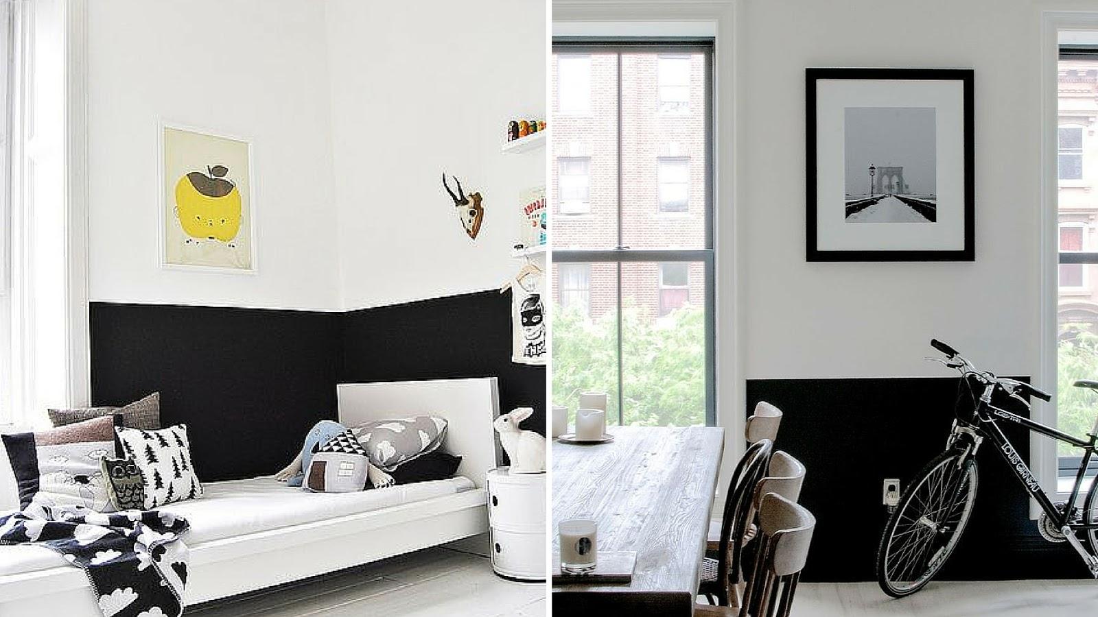 half black wall white floor