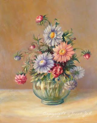 Vase of Asters custom oil painting