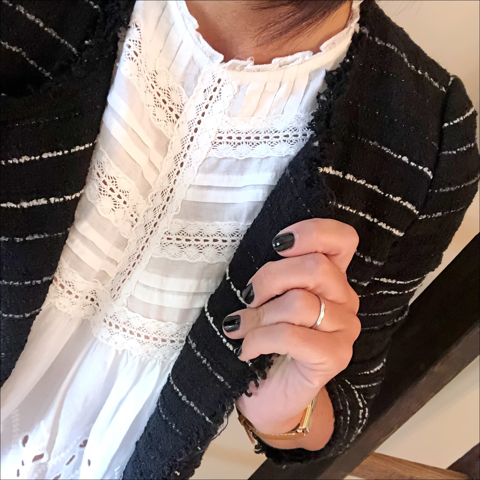 my midlife fashion, isabel marant etoile boucle jacket, zara embroidered blouse with frills, uterque mock croc crossbody bag, j crew suede tassel pointed flats, j crew 8 toothpick skinny jeans in true black