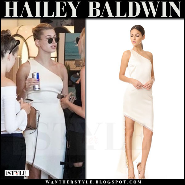Hailey Baldwin in white one shoulder dress haney blanca what she wore may 25 2017 cannes