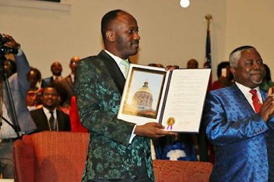APOSTLE SULEMAN RECEIVES  DOUBLE PORTIONS OF AWARDS IN ATLANTA GEORGIA