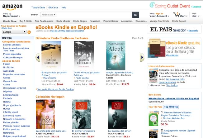 Amazon.com w języku hiszpańskim dla klientów w Stanach Zjednoczonych
