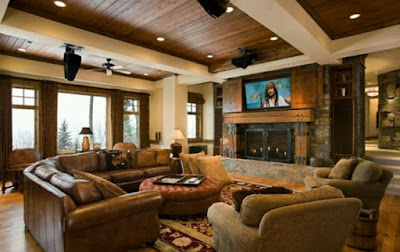 Brown leather sofa for Rustic modern living room