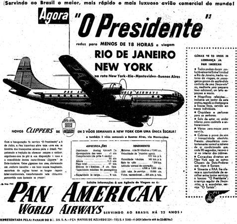 Propaganda da Pan American em 1951 com voo saindo do Rio de Janeiro para Nova York