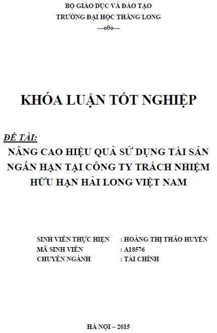Nâng cao hiệu quả sử dụng tài sản ngắn hạn tại Công ty TNHH Hải Long Việt Nam