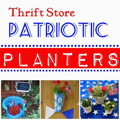 Thrift store patriotic planters