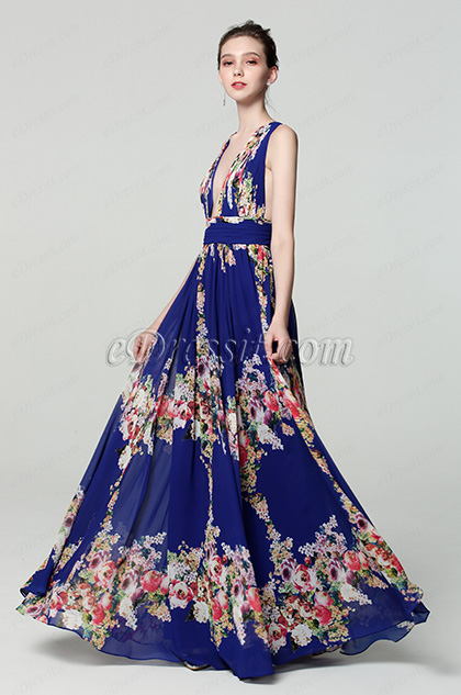 Plunging V-Cut Strap Print Floral Evening Dress