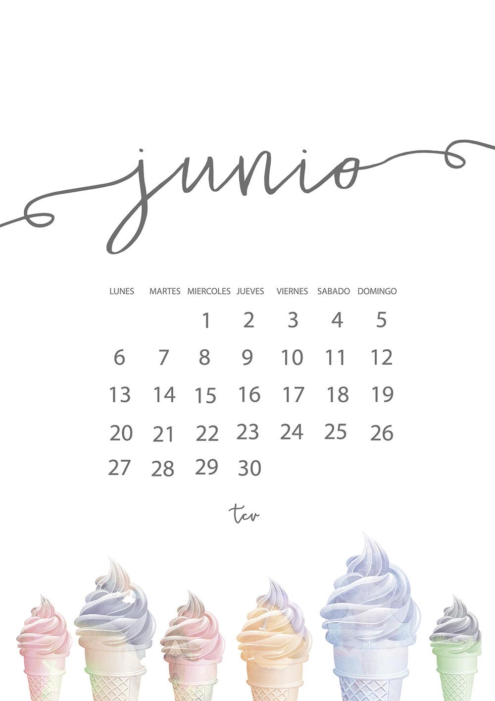Calendario descargable junio