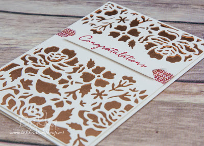 Detailed  Floral Thinlits Anniversary Card with a Copper Background made with supplies from Stampin' Up! UK which you can buy here