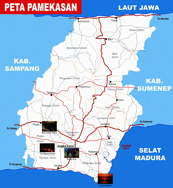 Pamekasan yakni sebuah yang terletak di Pulau Madura Peta Pamekasan Lengkap 13 Kecamatan