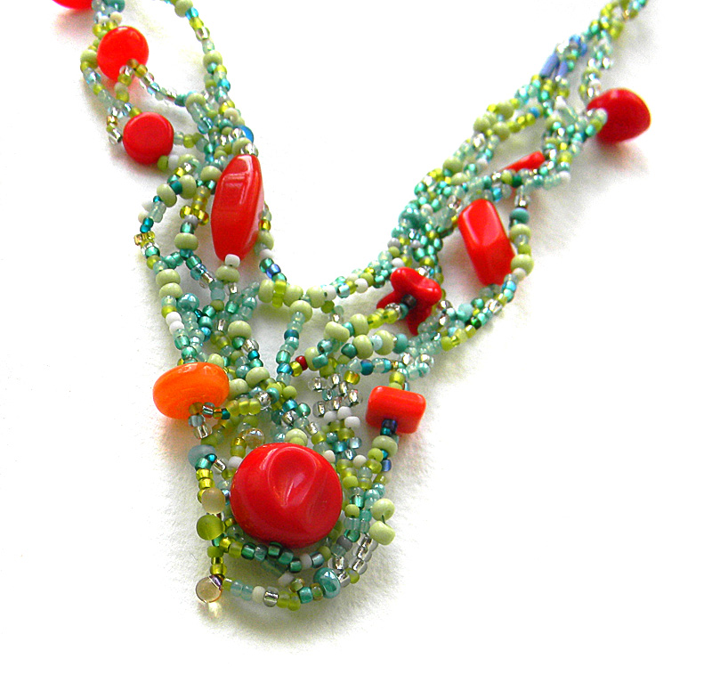 Boho beaded necklace - freeform beaded jewelry - seed bead necklace - OOAK