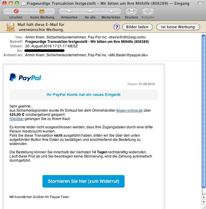 Paypal Email Fragwürdige Transaktion Festgestellt
