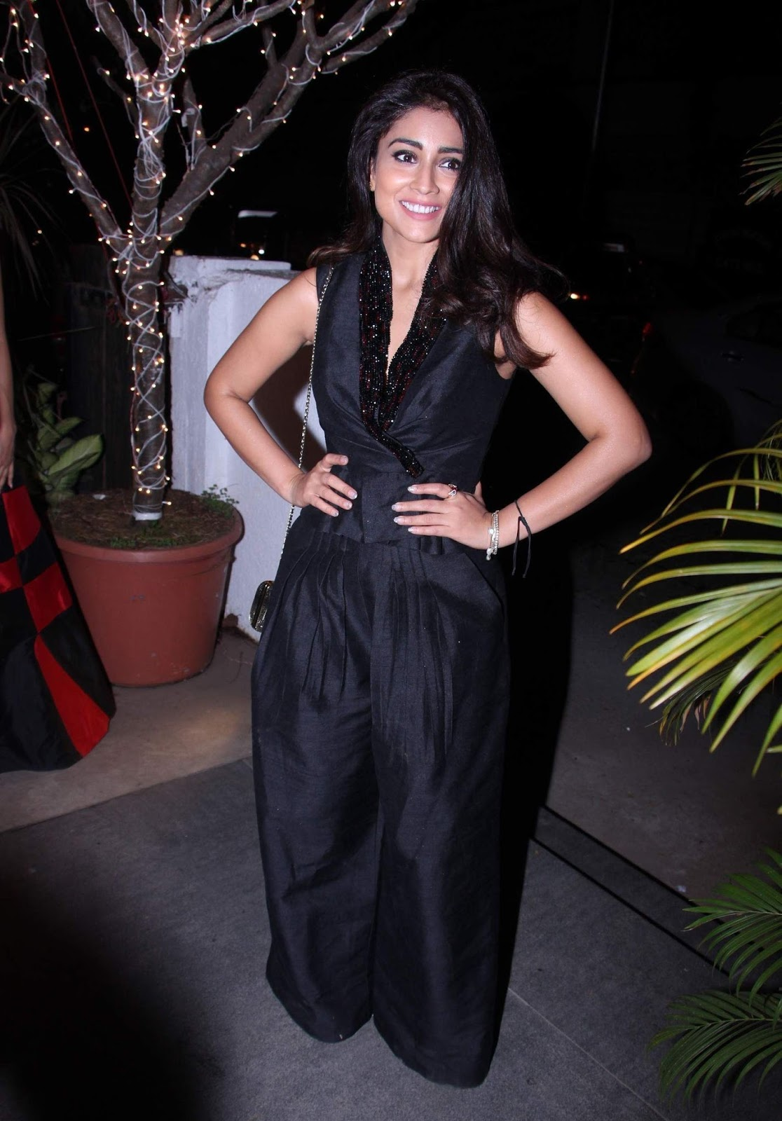 Actress In Black Dress At Fashion Studio Shriya Saran