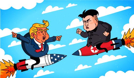 Donal Trump contra Kim Jong-un montados sobre misiles uno contra el otro