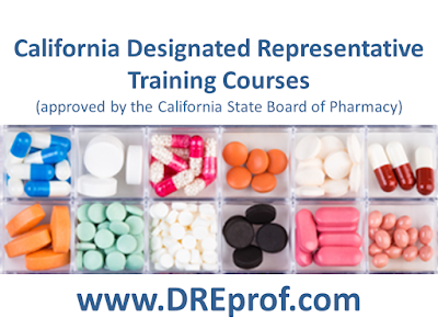 California Designated Representative Training Courses for wholesalers, 3PL, reverse distributors (approved by the California State Board of Pharmacy)