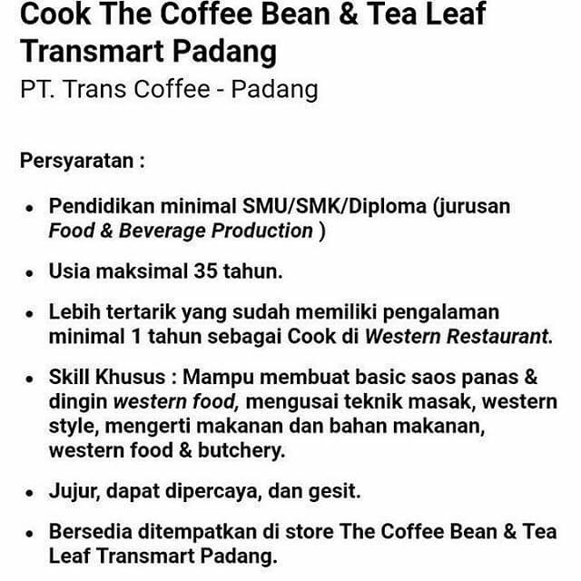 Lowongan Kerja Padang: PT. Trans Coffee Mei 2017