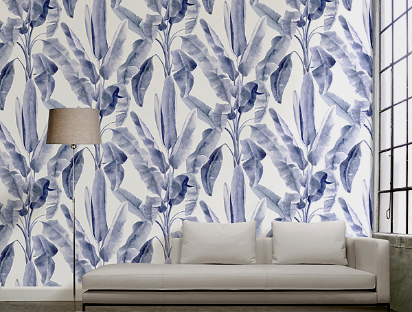En tendencia blue palm decoracion - Papel pintado a mano ...