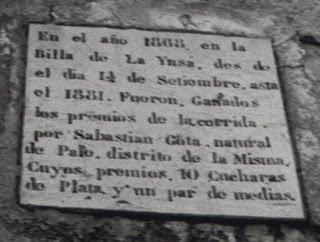 Sebastián Gota Pera Pueblo de Palo Historia de Palo Baldosa conmemorativa Corrida de la Cuchara Aínsa