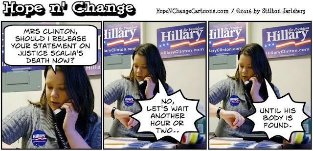 obama, obama jokes, political, humor, cartoon, conservative, hope n' change, hope and change, stilton jarlsberg, scalia, supreme court, hillary, murder